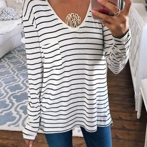 BP long sleeve striped tee shirt pocket v neck